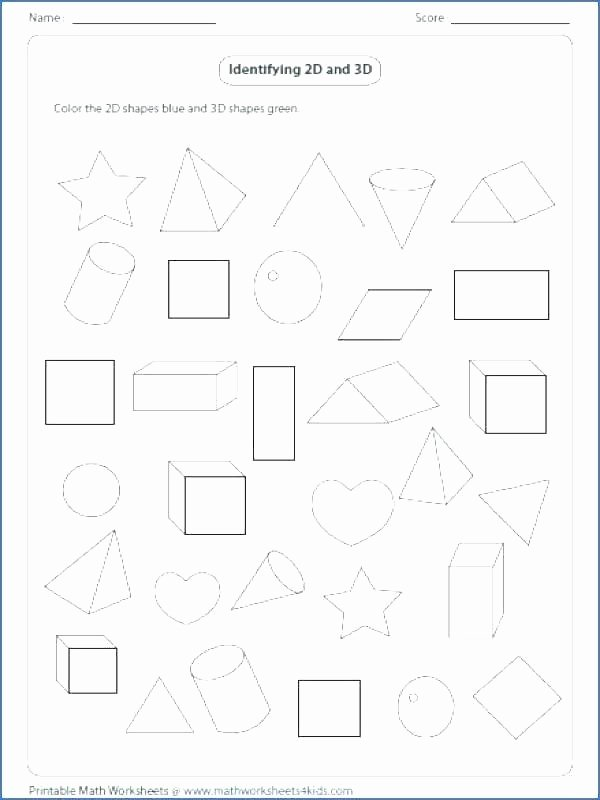 3d Shapes Worksheet for Kindergarten Shapes Worksheets Grade 5 and for 2d 3d Pdf 1 Similar