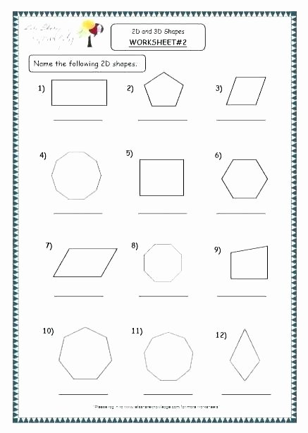 3d Shapes Worksheet for Kindergarten Worksheets Shapes for Grade 1 Download them Print and