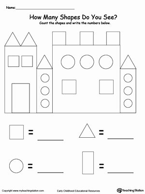 3d Shapes Worksheet Kindergarten Recognize and Count the Shapes In the Castle