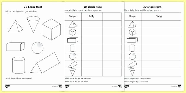 3d Shapes Worksheets 2nd Grade 3 D Shape Nets Dimensional Shapes Worksheets Kindergarten
