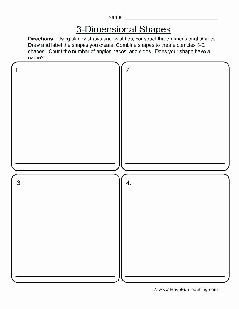 3d Shapes Worksheets 2nd Grade Geometry Worksheets for Students In Grade 2d and 3d Shapes