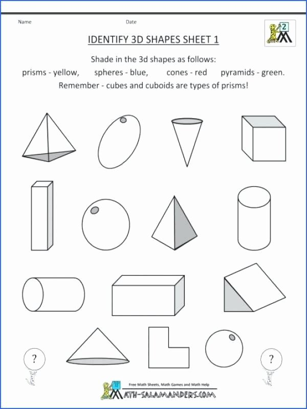 3d Shapes Worksheets 2nd Grade Grade Geometry Worksheet Worksheets 3 D Shapes Geometric