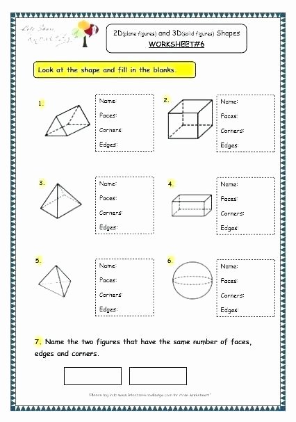 3d Shapes Worksheets 2nd Grade Shapes Worksheets for Kindergarten Worksheet solid Shape