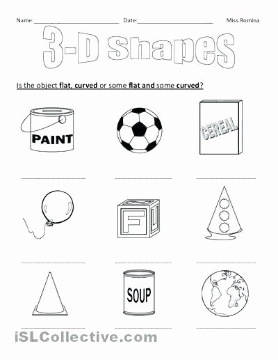 3d Shapes Worksheets 2nd Grade Shapes Worksheets Kindergarten sorting 3d Shapes Worksheet