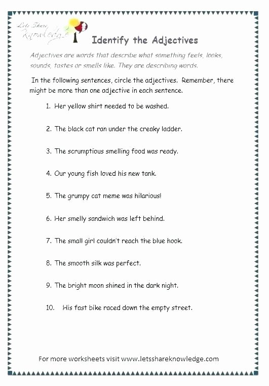 3rd Grade Adjectives Worksheets 4 5 Worksheets for Grade Grammar Adjectives Fair 3 Lovely