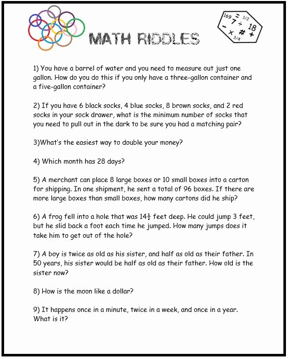 3rd Grade Brain Teasers Printable Math Should Never Be Boring More Math Brain Teasers Free