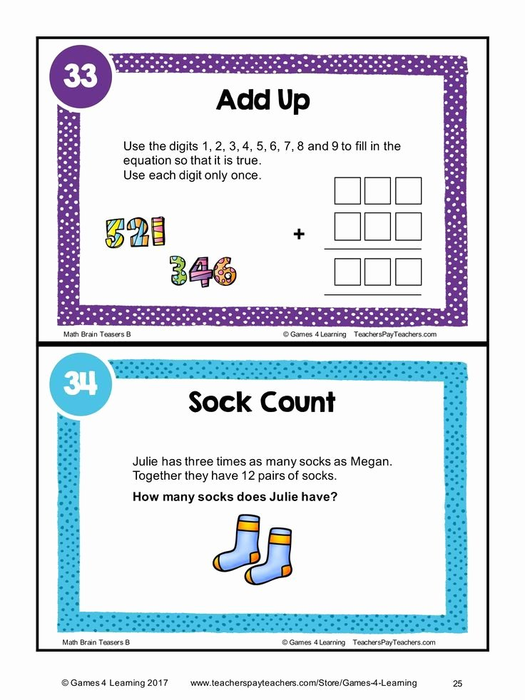 3rd Grade Brain Teasers Printable Math Task Cards Math Problems and Math Brain Teasers Cards