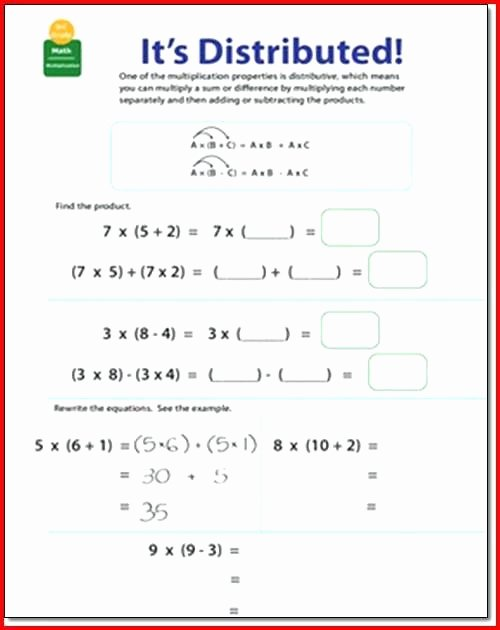 3rd Grade Distributive Property Worksheets 6th Grade Math Distributive Property Worksheets
