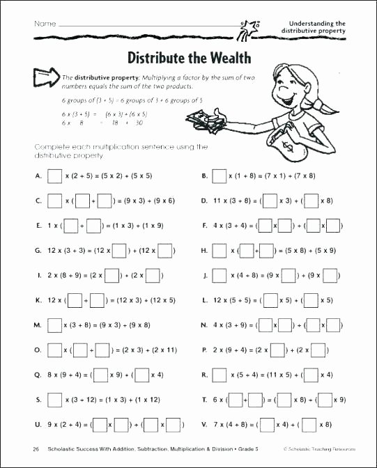 3rd Grade Distributive Property Worksheets 7th Grade Math Distributive Property Worksheets