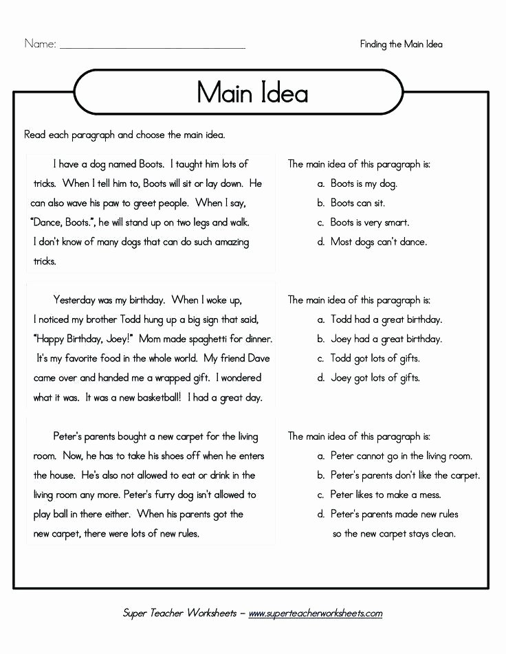 3rd Grade Main Idea Worksheets Main Idea Worksheets Grade 1