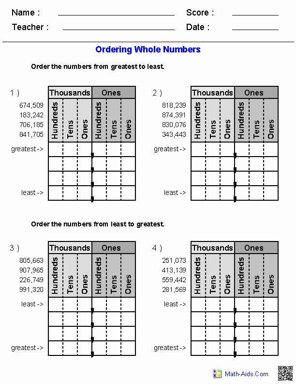 3rd Grade Number Line Worksheets Greater Than Less Than Worksheets Math Aids