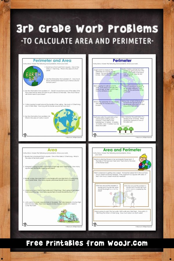 3rd Grade Perimeter Worksheets area and Perimeter Word Problem Worksheets for Earth Day