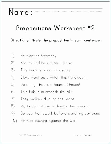 3rd Grade Preposition Worksheets Adverbs and Prepositions Worksheets