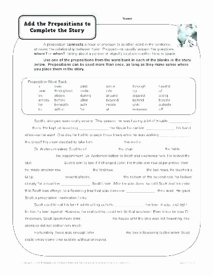 3rd Grade Preposition Worksheets Preposition for Grade 2 Page 1 Prepositions Worksheet