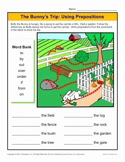 3rd Grade Preposition Worksheets Prepositions Worksheets for Grade 1 and 2 Third Preposition