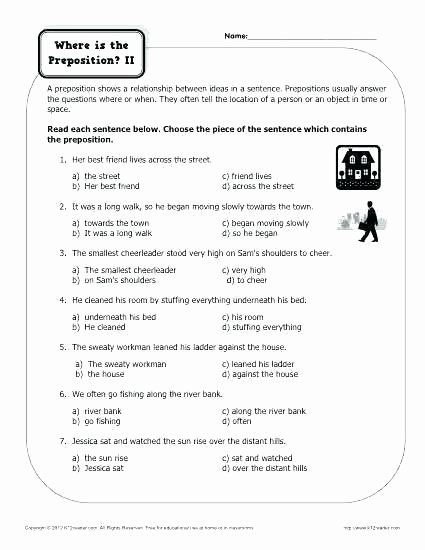 3rd Grade Preposition Worksheets Proofreading Worksheets Grade Free Practice Doodle Ideas