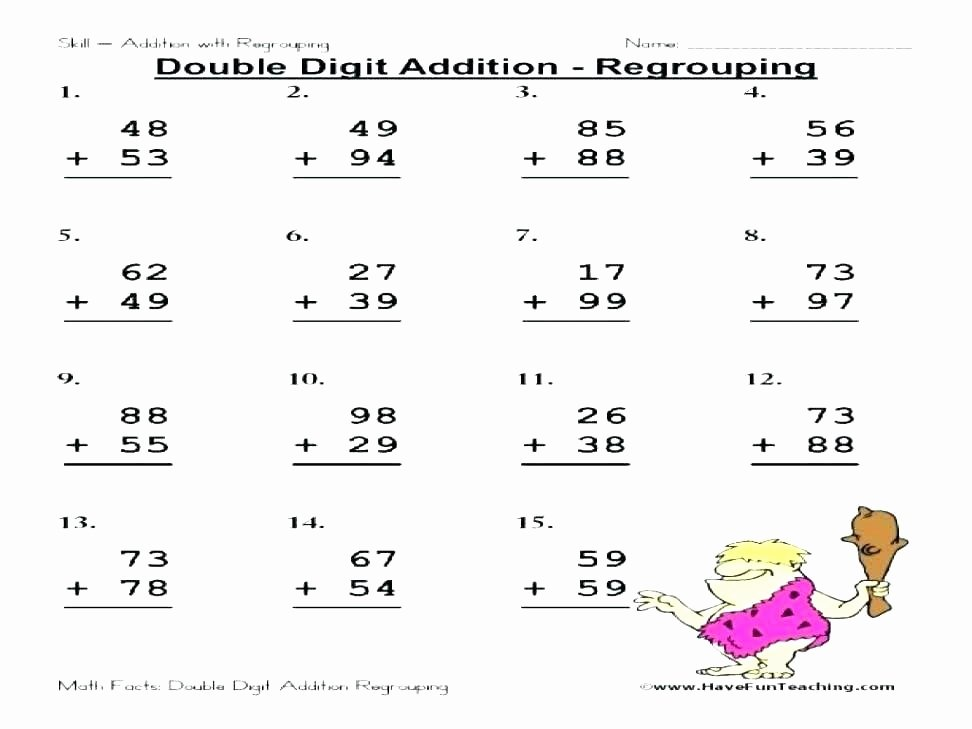 3rd Grade Regrouping Worksheets Math Worksheets On Addition with Regrouping – Kcctalmavale