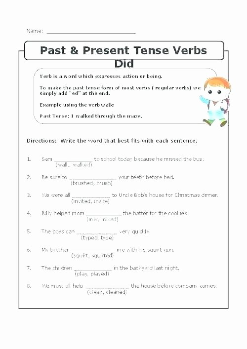 3rd Grade Verb Tense Worksheets Action Verb Practice Worksheets Verb Sentence Worksheets