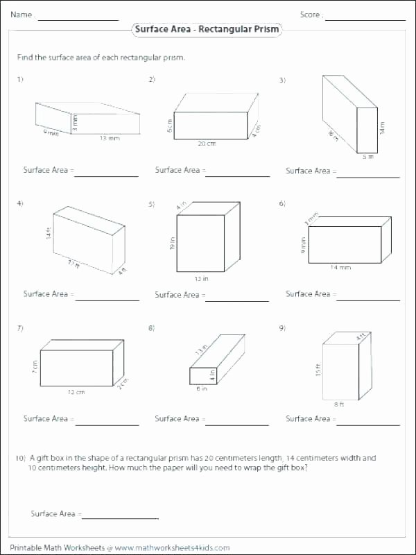 3rd Grade Volume Worksheets Surface area Worksheets Grade 7