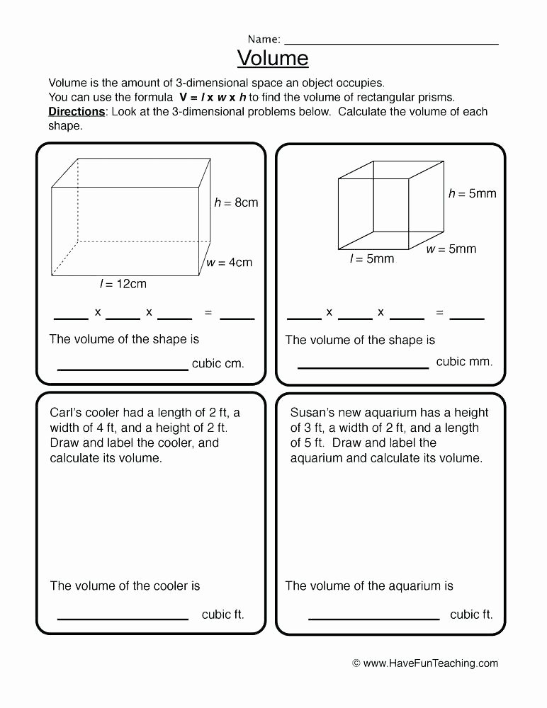 3rd Grade Volume Worksheets Volume Worksheets