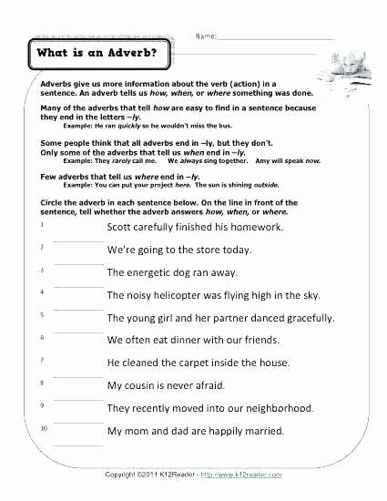 4th Grade Adverb Worksheets Adverb Worksheets 4th Grade