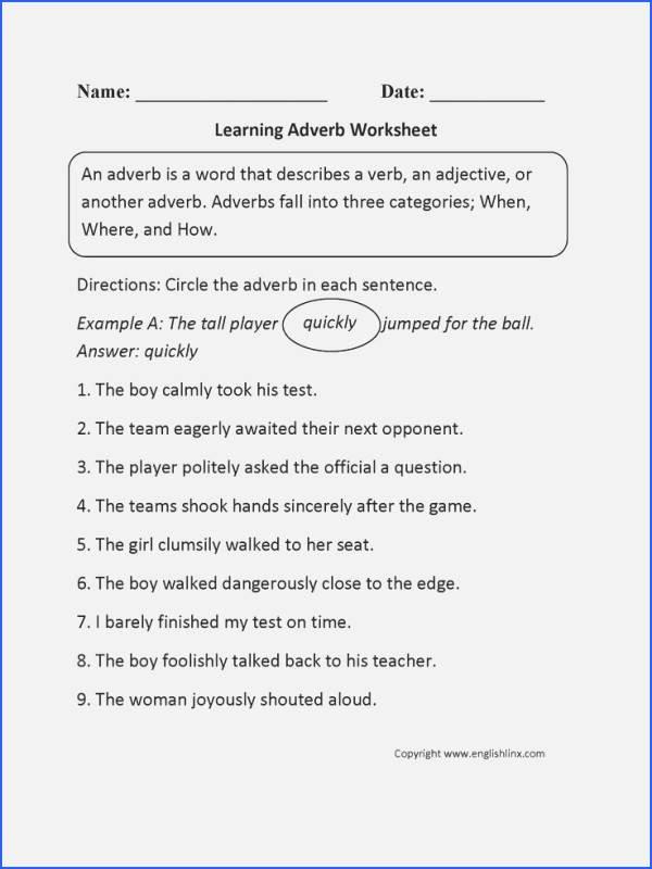 4th Grade Adverb Worksheets Adverbs 2nd Grade Worksheets Elegant Adverb Worksheets – 7th