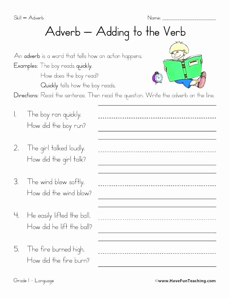4th Grade Adverb Worksheets Adverbs Questions Worksheets