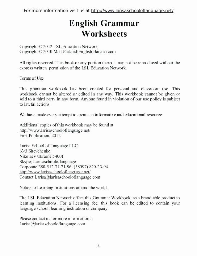 4th Grade English Worksheets 4th Grade Grammar Worksheets Pdf Free Grade Grammar