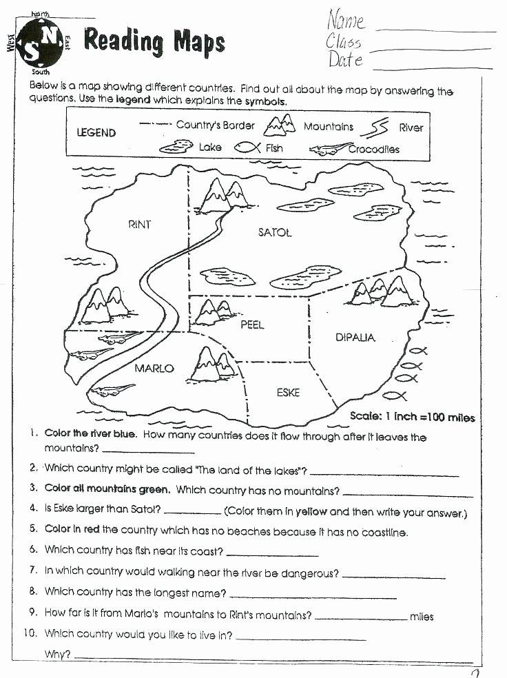 4th Grade Map Skills Worksheets Map Worksheets