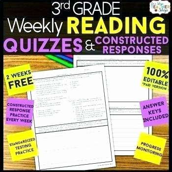 4th Grade Reading Response Worksheets Grade Reading Prehension Quizzes Constructed Response