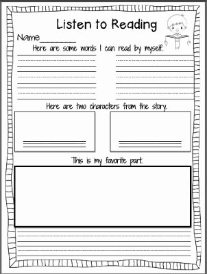 4th Grade Reading Response Worksheets Reading Response Worksheets for First Grade