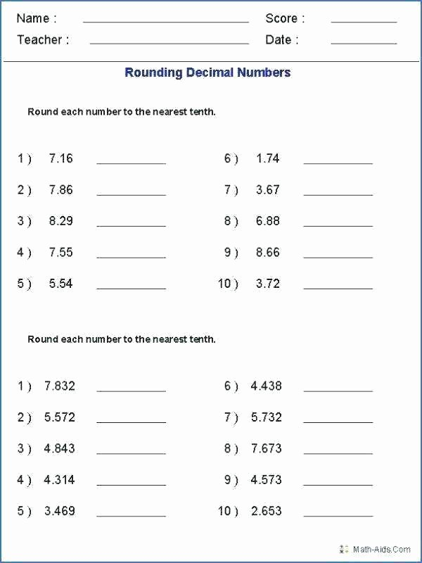 4th Grade Rounding Worksheets August Fourth Grade Rounding Decimals Worksheets Third and