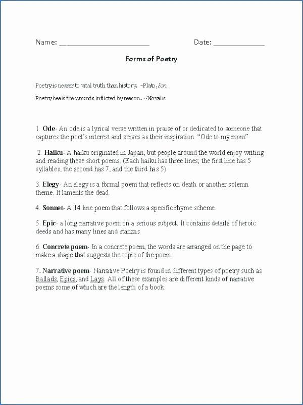 4th Grade Sequencing Worksheets Poetry Prehension Worksheets Poems for Graders Grade
