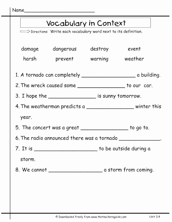 4th Grade Vocabulary Worksheets Pdf Second Grade Vocabulary Worksheets 8th Math Words Science