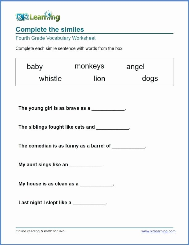 4th Grade Vocabulary Worksheets Pdf Worksheets for Graders Reading Free Grade Luxury Printable