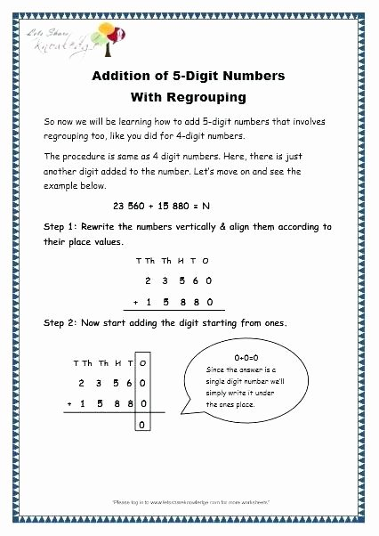 5 Digit Addition with Regrouping 5 Digit Addition with Regrouping Worksheets – Reynoldbot