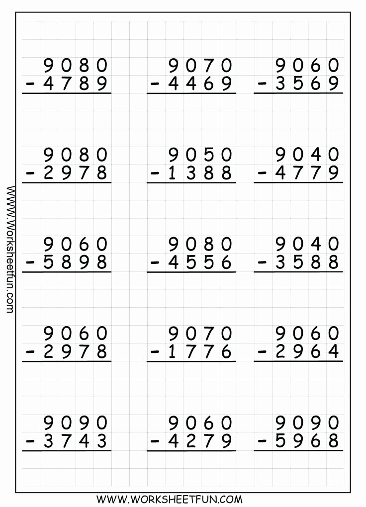 5 Digit Addition with Regrouping Subtraction with Regrouping 9 Worksheets Printable 4 Digit