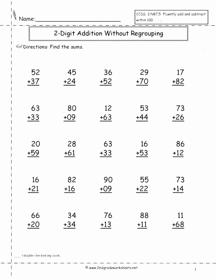 5 Digit Addition with Regrouping Worksheets to Practice Two Digit Subtraction without