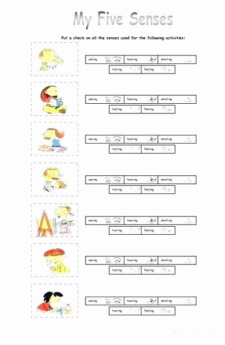 5 Senses Kindergarten Worksheets Match 5 Senses Worksheet for Kids Crafts and Worksheets