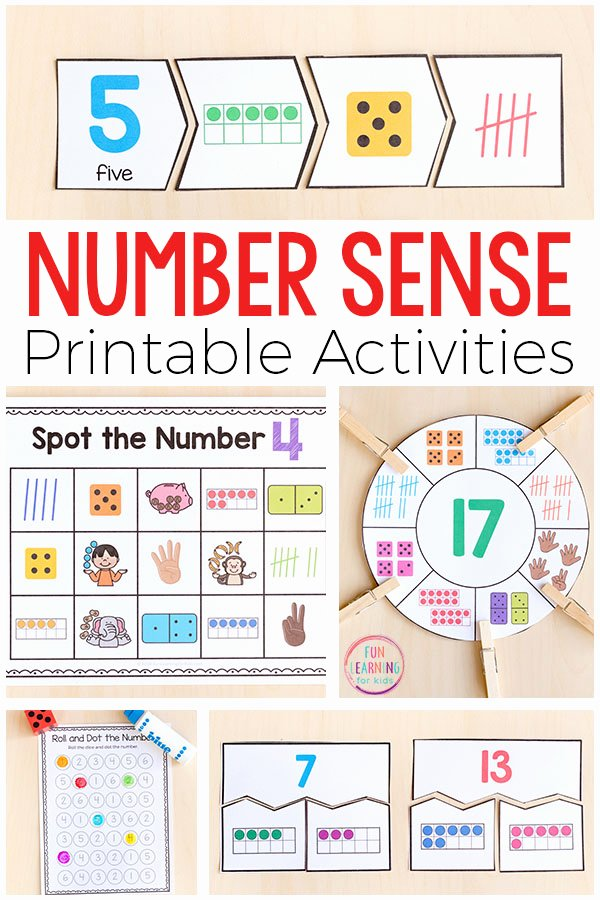 5 Senses Printable Worksheets Printable Number Sense Activities for Kindergarten and First