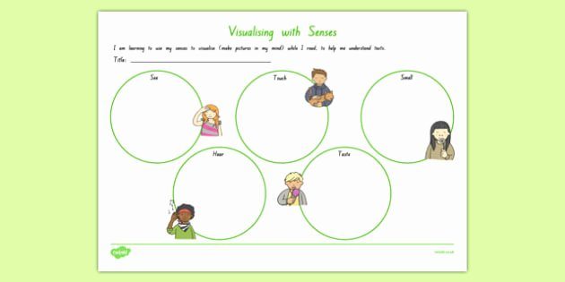 5 Senses Worksheet Preschool Visualising with All 5 Senses Worksheet Worksheet Worksheet