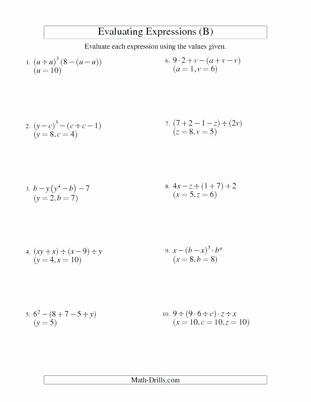 5th Grade Algebraic Expressions Worksheets Free Algebraic Expressions Worksheets