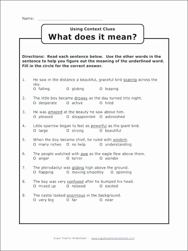5th Grade Context Clues Worksheets Context Clues Worksheets Grade Worksheet Lesson 11 Wo