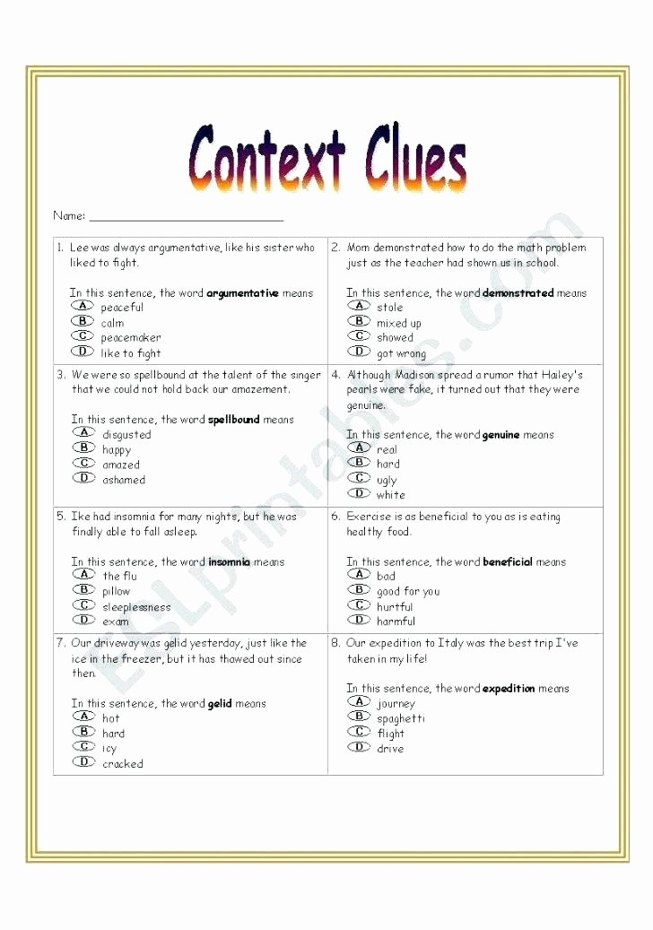 5th Grade Context Clues Worksheets Lesson Context Clues Worksheets Multiple Choice Worksheet
