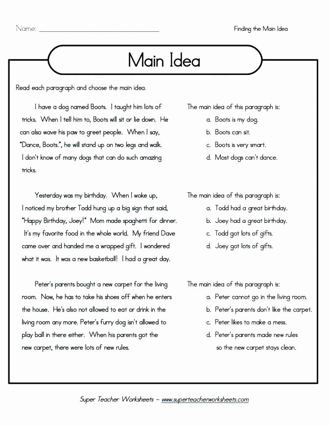 fifth grade prehension worksheets free poetry for 8 reading and main idea with