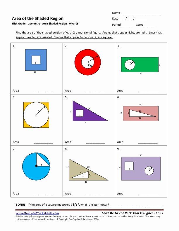5th Grade Measurement Worksheet Fifth Grade area – Shaded Region Worksheet 05 – E Page
