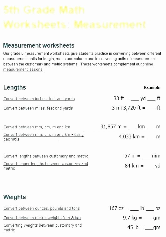 5th Grade Metric Conversion Worksheets Ounces and Pounds Worksheets 3rd Grade