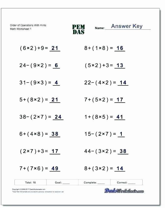 5th Grade Pemdas Worksheets Equations Rksheets the Best Image Collection Download and
