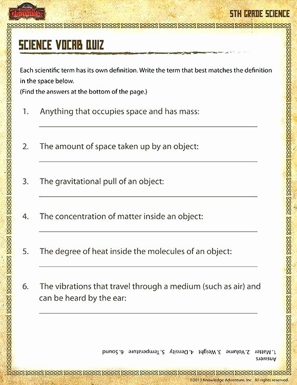 5th Grade Science Worksheets Pdf Free Science Worksheets for 5th Grade