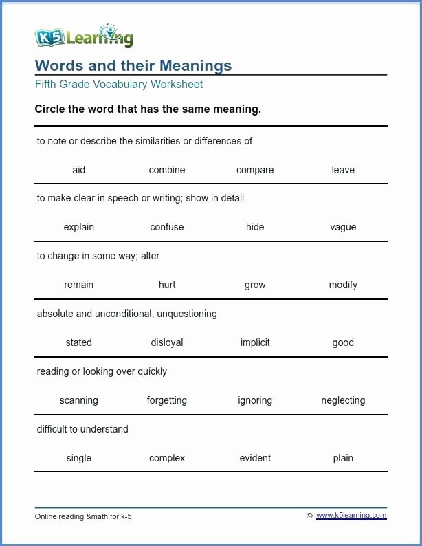 5th Grade Vocabulary Worksheets Pdf Fearless Fox and the Lion Word Usage Printable Vocabulary